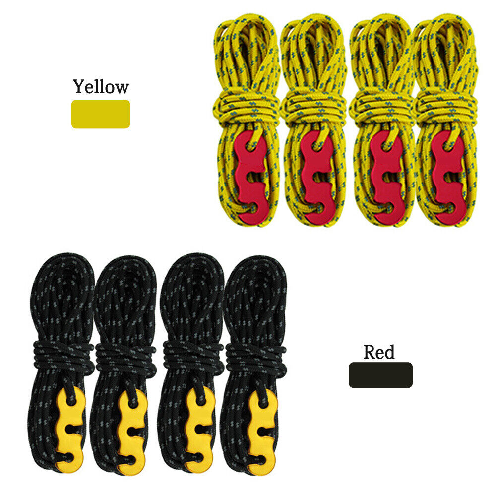 Camping Tent Fluorescent Guyline Tent Ropes Line Camping Cord Guide 4 Pcs Tool