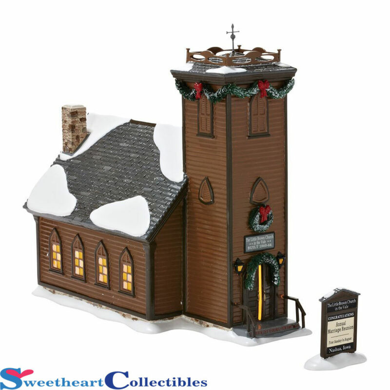 Department 56 Snow Village The Little Brown Church NIB Retired