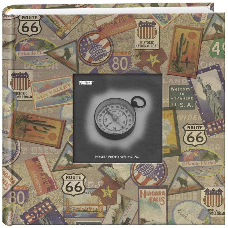 Pioneer 200-Pocket Photo Album with Printed Travel Design - Travel Stickers