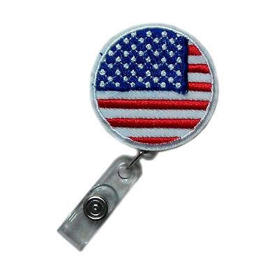 Cute Retractable Applique USA Flag Reels ID Card Clip Nurse Police Badge Holder for sale  China