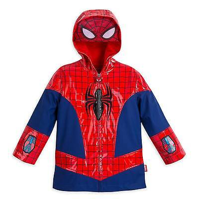 Disney Store Marvel Spiderman Deluxe Super Hero Rain Jacket Boys Size Toddler 2