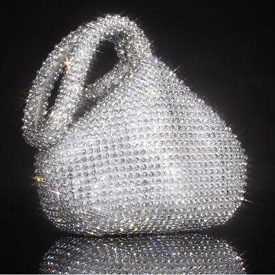 Fashion Rhinestones Evening Dinner Clutch Purse Bag For Party Wedding Silver USA ()