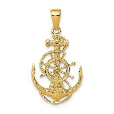 14K Yellow Gold Sea Anchor With Ship Wheel And Rope Pendant 14k Gold Anchor Pendant