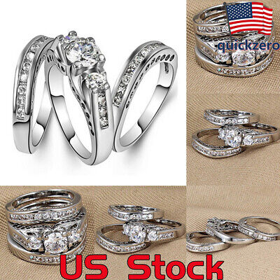 Fashion European And American Couple 3 Piece Set Ring Wedding Band Engagement ()