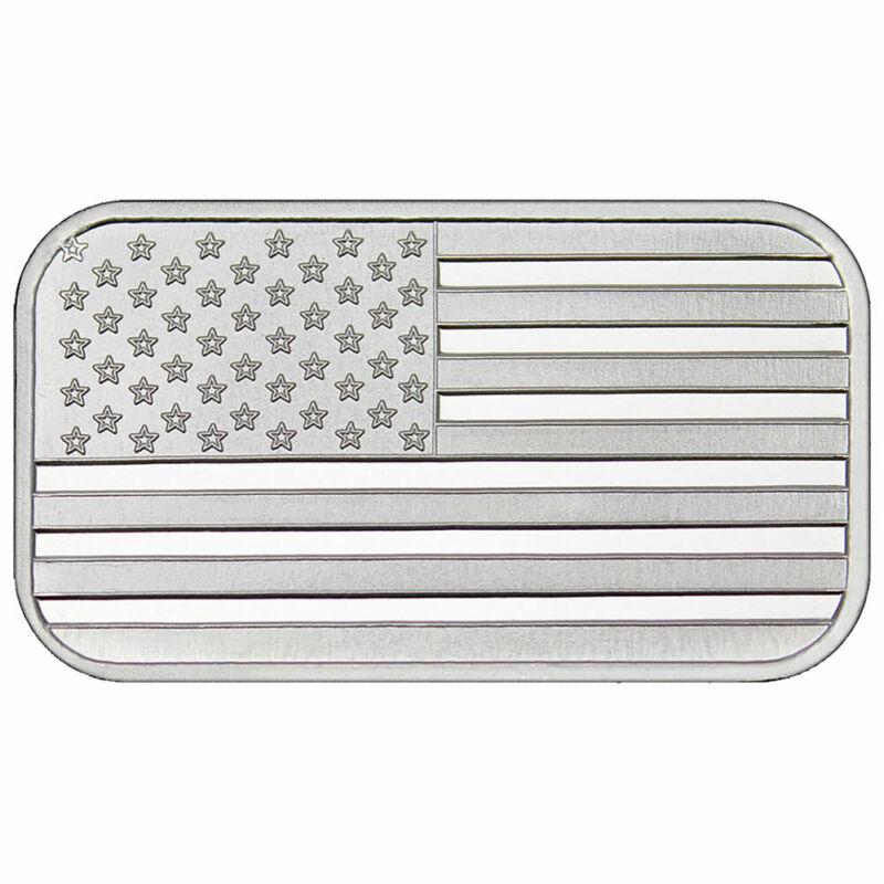 1 Troy oz American Flag .999 Fine Silver Bar Sealed