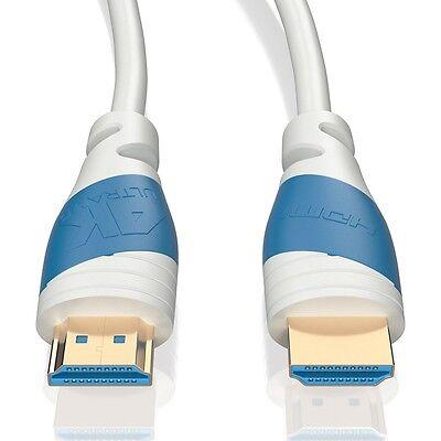 4m HDMI Kabel 2.0 Weiß | 4K U-HD High Speed 3D Ethernet | Für TV PS4 Xbox Beamer