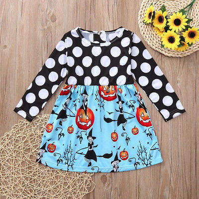 Toddler Kids Baby Girls Halloween Pumpkin Cartoon Princess Dress Outfits Clothes - Halloween Kids Cartoon