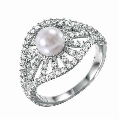 925 STERLING SILVER RADIAL BURSTS WEDDING RING W/ PEARL & ACCENTS/ SZ 5 - - Radial Silver Ring