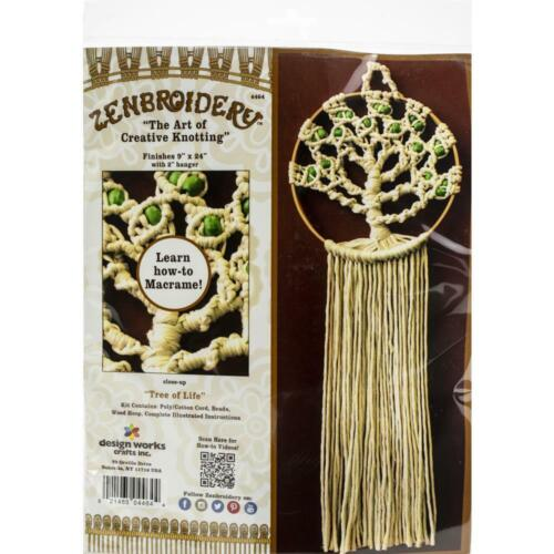 Design Works ZENBROIDERY - TREE OF LIFE Wall Hanging Kit Knotting/Macrame #4464