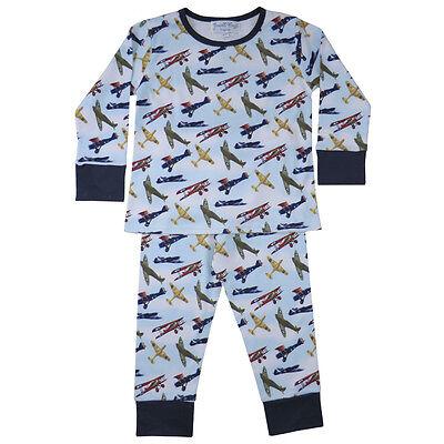 Cotton Knit Pyjama (100% Cotton Knit Pyjamas-Beautifully Soft-Vintage Aeroplanes-Powell Craft-2-7yrs)