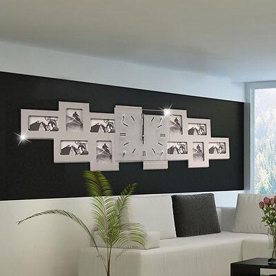 Wand Uhr Bilder Rahmen Wohn Zimmer Foto Dekoration silber Zeit Zeiger schwarz