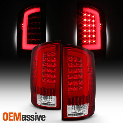 Fit 2002-2006 Dodge Ram 1500 2003-2006 2500/3500 LED Bar Tail Lights - Red Clear