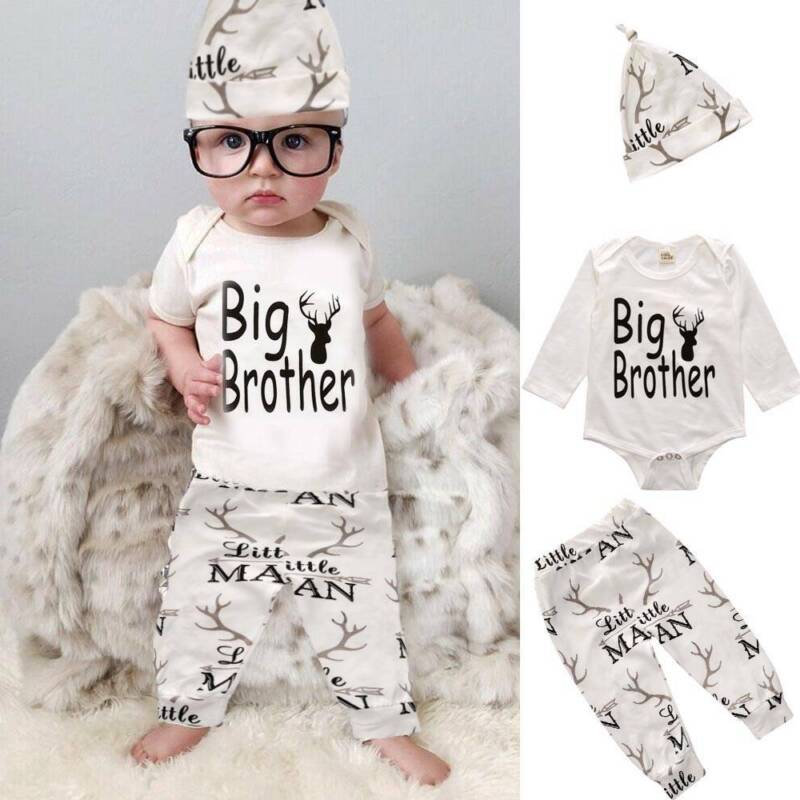 UK Christmas Newborn Baby Boy Clothes Little Man Romper+Deer Leggings+Hat Outfit
