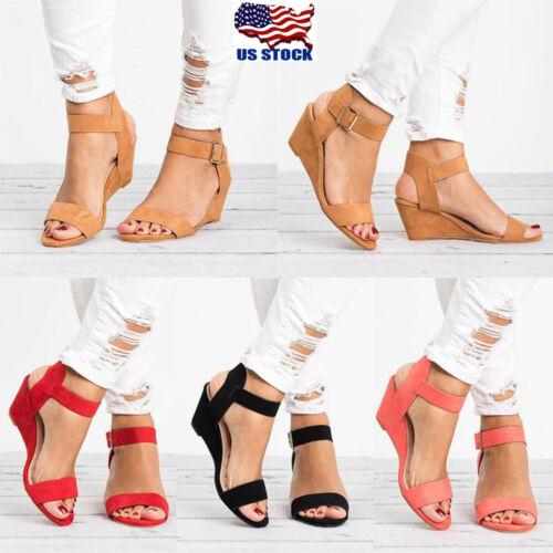 roman womens wedge sandals low heels ankle