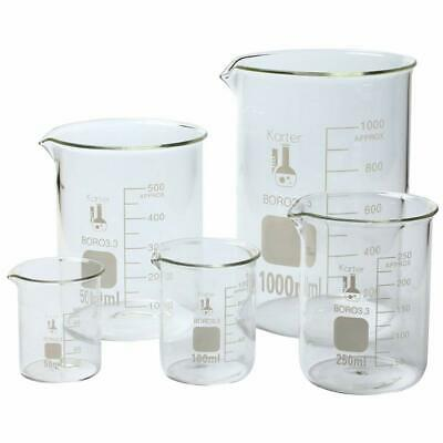 5 Piece Economy Borosilicate Glass Beaker Set For Beginners Or Professional