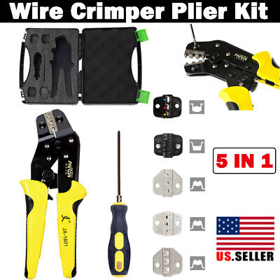 5 In 1 Ratchet Crimper Plier Crimping Tool Cable Wire Electrical Terminals Kit