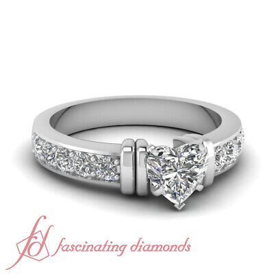 1.5 Carat White Gold Heart Shaped Diamond Rings Pave Set With Round Accents GIA