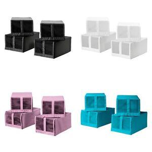 ikea skubb set of 4 shoe box organiser storage boxes wardrobe new ebay. Black Bedroom Furniture Sets. Home Design Ideas