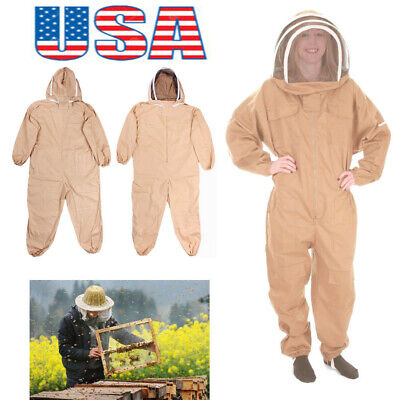 Usa Cotton Full Body Bee Keeping Suit Veil Hood Protective Suit Lxlxxl Size