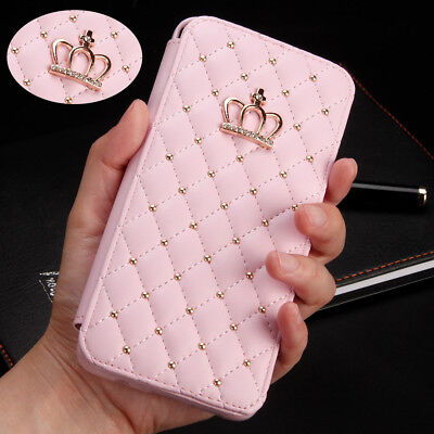 For Samsung Huawei Luxury Crown Bling Girly Flip Leather Wallet Case Phone Cover