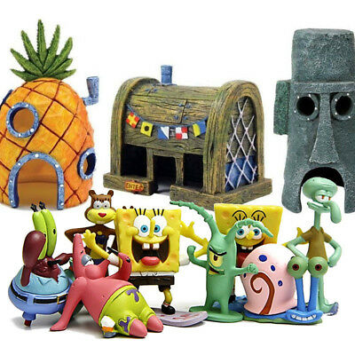 SpongeBob SquarePants Patrick Squidward House Fish Tank Figurines Decoration Lot](Spongebob Decorations)