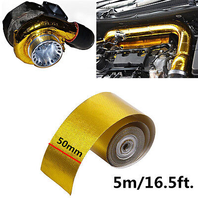 Reflective Gold Tape High Performance Heat Insulation Wrap Turbo 5x500cm w/ Ties