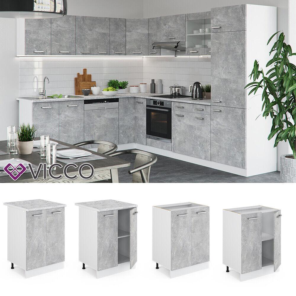 VICCO Küchenschrank Hängeschrank Unterschrank Küchenzeile R-Line Unterschrank 60 cm beton