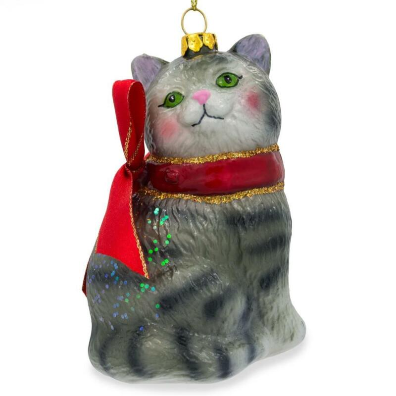 Striped Siberian Cat Glass Christmas Ornament