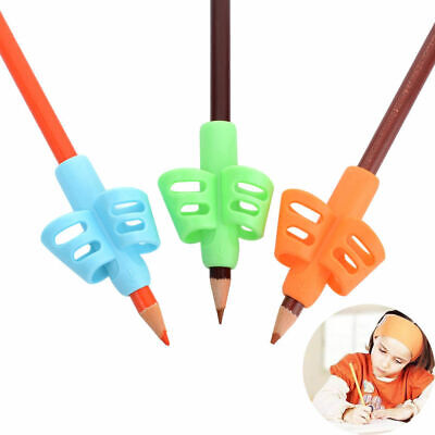 3Pcs 2/3-finger Grip Soft Silicone Kid Baby Pencil Holder Learning Writing Tools
