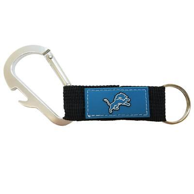 Official NFL Detroit Lions Carabiner Keychain with Bottle Opener New with Tags ()