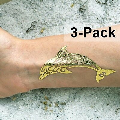 Under The Sea Tattoos (Gold Dolphin Temporary Tattoos Metallic Skin Stickers Jewelry Under the Sea)