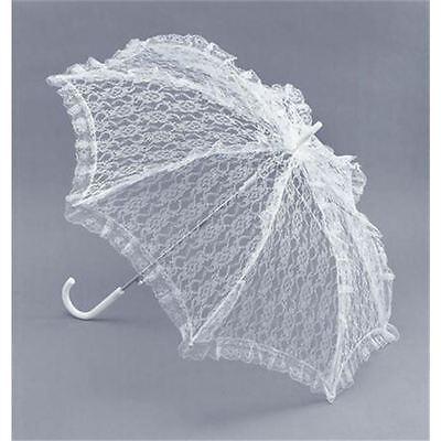 Kostüme Sonnenschirm (Damen Weiß Sonnenschirm aus Spitze Kostüm Regenschirm Viktorianisch)