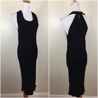 HELMUT LANG Womens Medium Black Fitted Ribbed Knit Feel Sleeveless Dress