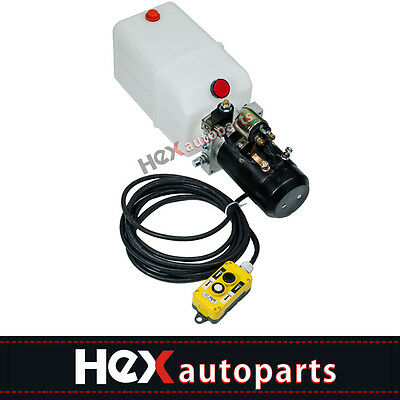 New 6 Quart Single Acting Hydraulic Pump Dc 12v Dump Trailer