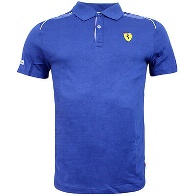Puma Ferrari Shield Logo Blue Short Sleeved Mens Polo Shirt 761547 05 UA100