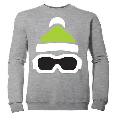 Board Kinder Sweatshirt (Skibrille & Hut Aufdruck Mädchen Winter Ski Snowboard Staffel Kinder Sweatshirt)