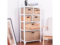 SALE! 6 Drawer Baskets White Functional Wooden Hyacinth and Seagrass Baskets Cabinet FULLY ASSEMBLED
