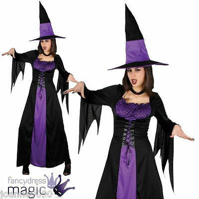 Ladies Purple Spellbound Wicked Witch Halloween Fancy Dress Costume With Hat - Halloween Costumes With Purple