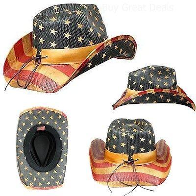 Men's Vintage Tea-Stained USA American Flag Shape-It Brim Cowboy Hat w/ Western](Camo Straw Cowboy Hat)