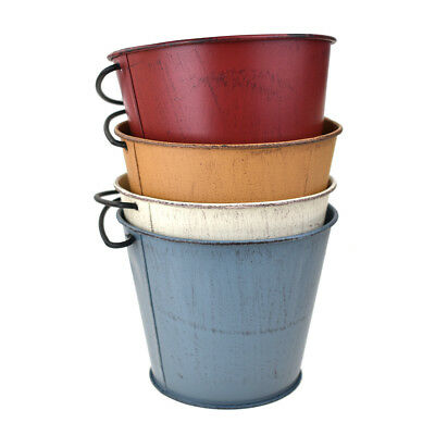 Distressed Rustic Metal Pail Buckets, Assorted Colors, 4-1/2-Inch - Colored Metal Buckets