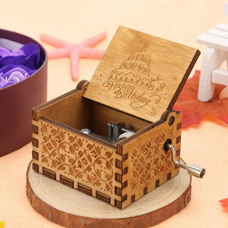 Happy Birthday To You Wooden Music Box Handmade Hand Cranked Toys Gifts USA