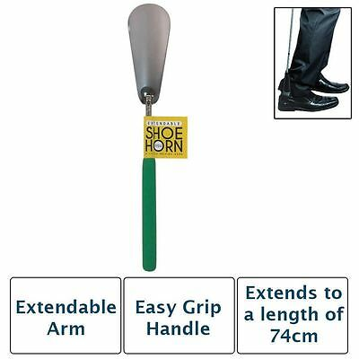 EXTENDABLE GREEN METAL SHOE HORN HANDLE LONG REMOVER HANDHELD SHOES EASY GRIP