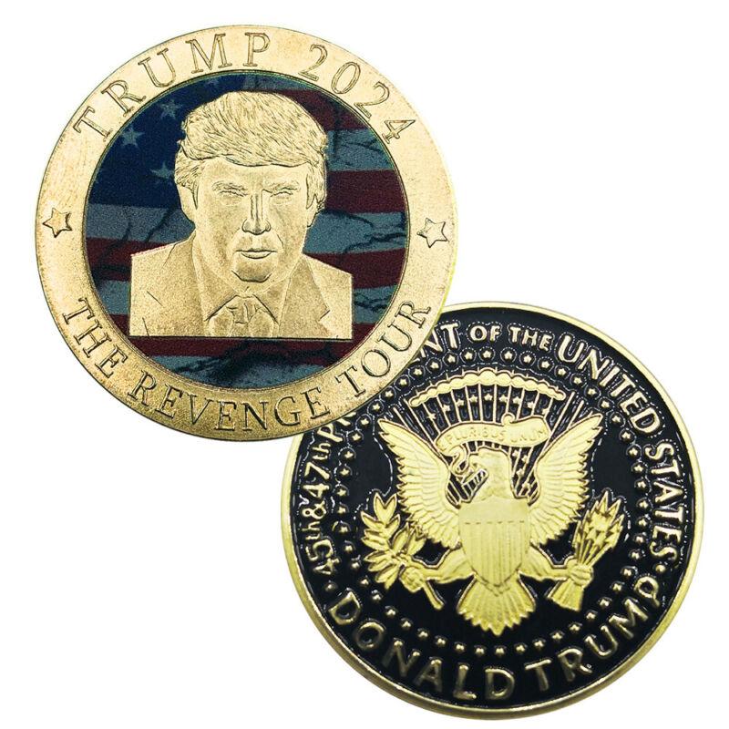 2024 Donald Trump President Gold Coin THE REVENGE TOUR Coins 1 PC