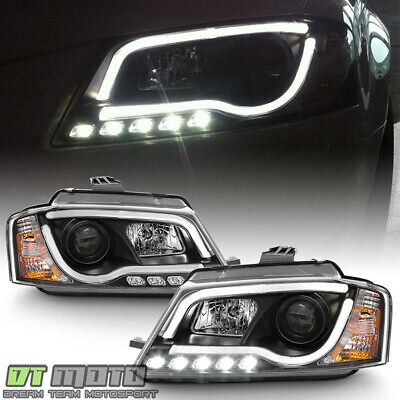 """Black 2009-2012 Audi A3 DRL """"RS5 LED Style"""" Projector Headlights w/Running Lamps"""