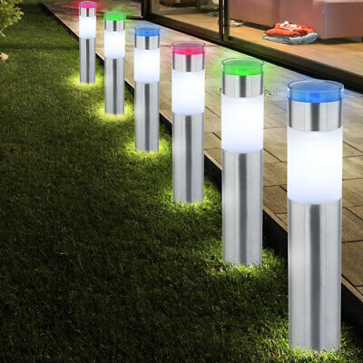 6x RGB LED SOLAR outdoor plug-in lights garden ground spike stainless steel lamp
