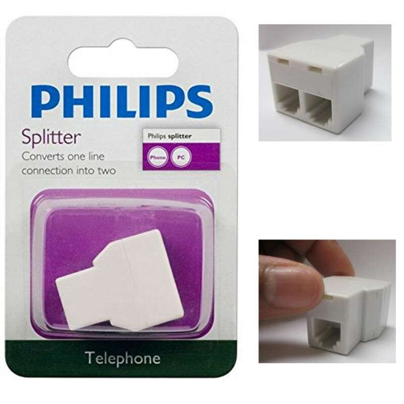 Phillips 2 Way Phone Jack Splitter Adapter Duplex Connector Telephone Converter