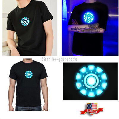 LED T-Shirt Iron Man Tony Arc Reactor Stark Light Up Sound Control Costume