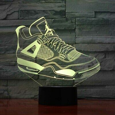 3D basketball shoe sport led 7 color night light illusion room lamp home gift