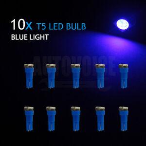 10pcs T5 Dash 5050 SMD LED Car Wedge Dashboard Instrument Blue Light Bulbs 12V