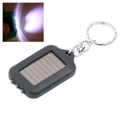 Mini Portable Solar Power Black 3LED Light Keychain Torch Flashlight HOT 6SC A ()